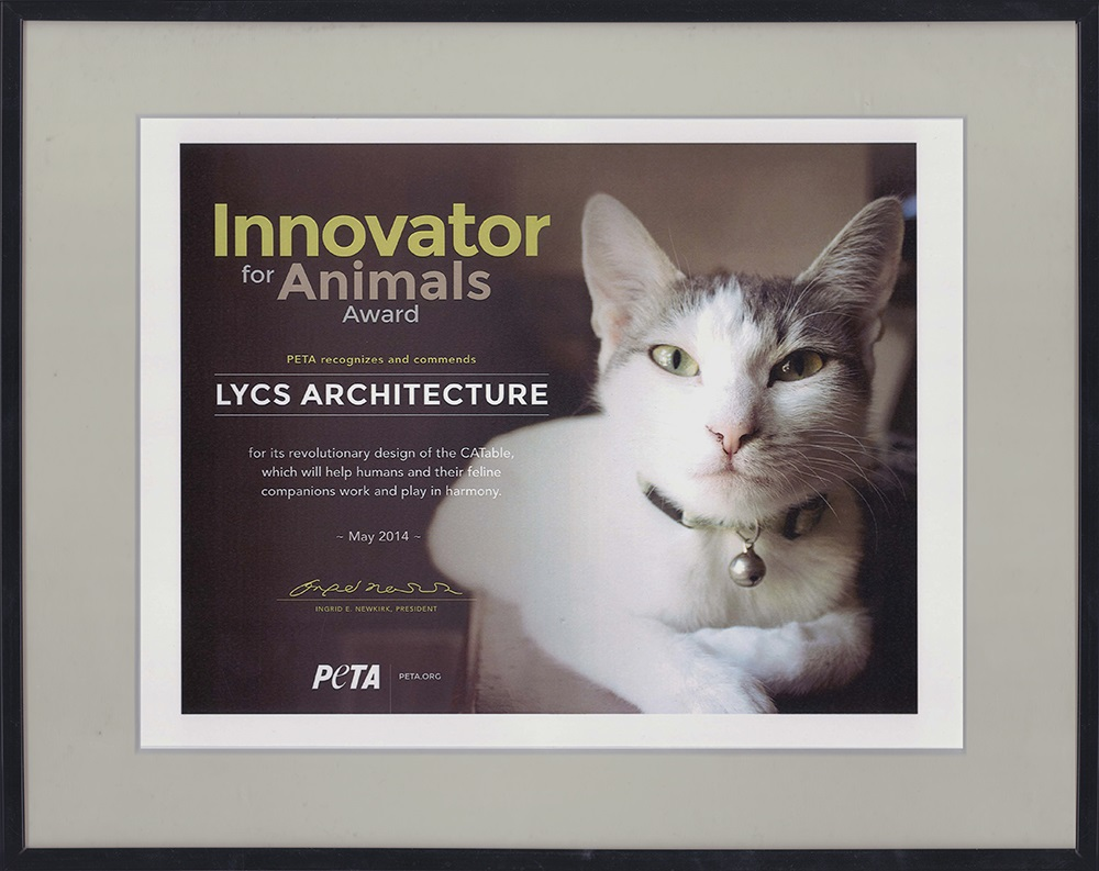 "LYCS Architecture Honored ""Innovator for Animals Award""by PETA"